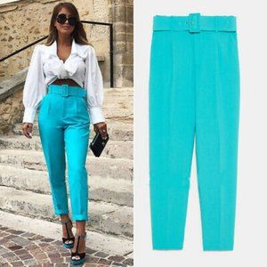 NWT Zara Size S High Waist Turquoise Belted Pants